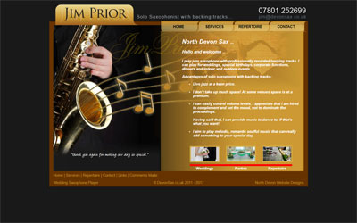 Jim Prior Saxaphonist in North Devon, click for details